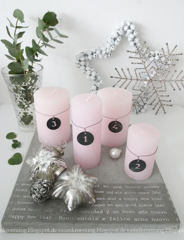 adventskranz alternative betonfliese mit rosa und silber. Black Bedroom Furniture Sets. Home Design Ideas